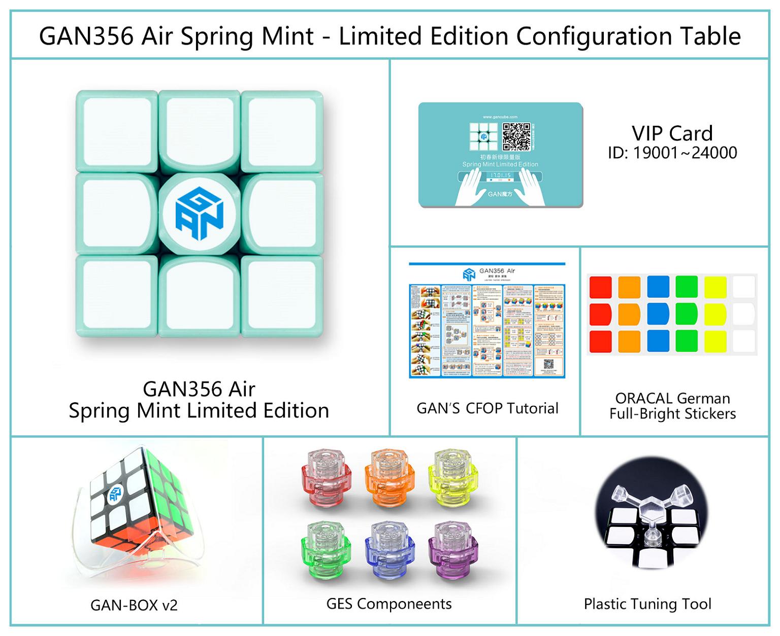 Z stickers megaminx - Mspeed Cube Gan356 Air Spring Mint Limited Edition Gan